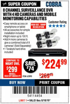 Harbor Freight Coupon 8 CHANNEL SURVEILLANCE DVR WITH 4 HD CAMERAS AND MOBILE MONITORING CAPABILITIES Lot No. 63890 Expired: 8/18/19 - $224.99