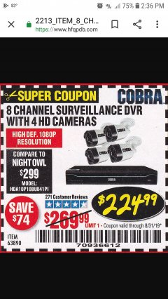 Harbor Freight Coupon 8 CHANNEL SURVEILLANCE DVR WITH 4 HD CAMERAS AND MOBILE MONITORING CAPABILITIES Lot No. 63890 Valid Thru: 8/31/19 - $224.99