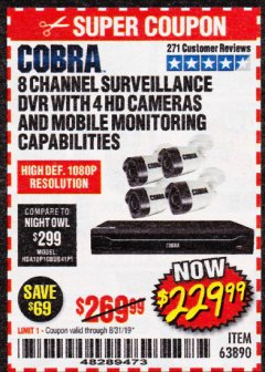 Harbor Freight Coupon 8 CHANNEL SURVEILLANCE DVR WITH 4 HD CAMERAS AND MOBILE MONITORING CAPABILITIES Lot No. 63890 Valid Thru: 8/31/19 - $229.99