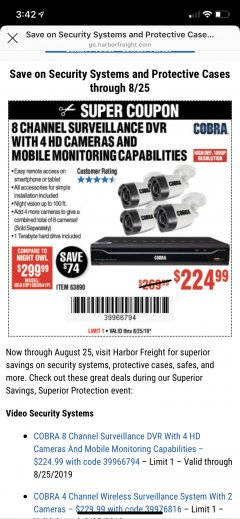 Harbor Freight Coupon 8 CHANNEL SURVEILLANCE DVR WITH 4 HD CAMERAS AND MOBILE MONITORING CAPABILITIES Lot No. 63890 Valid Thru: 8/25/19 - $224.99