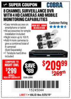 Harbor Freight Coupon 8 CHANNEL SURVEILLANCE DVR WITH 4 HD CAMERAS AND MOBILE MONITORING CAPABILITIES Lot No. 63890 Valid Thru: 8/25/19 - $209.99