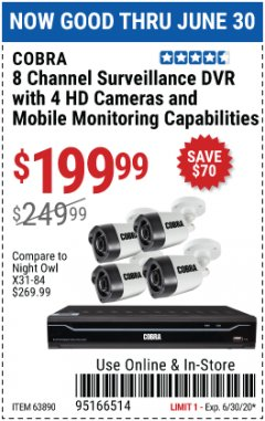 Harbor Freight Coupon 8 CHANNEL SURVEILLANCE DVR WITH 4 HD CAMERAS AND MOBILE MONITORING CAPABILITIES Lot No. 63890 EXPIRES: 6/30/20 - $199.99