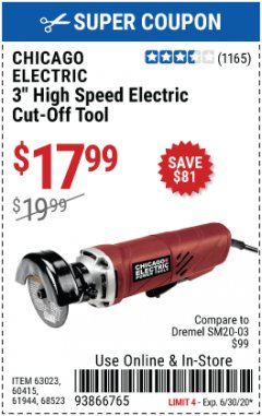 "Harbor Freight Coupon 3"" HEAVY DUTY ELECTRIC CUT-OFF TOOL Lot No. 63023/61944/68523 EXPIRES: 6/30/20 - $17.99"