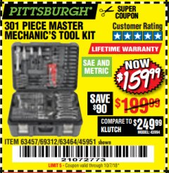 Harbor Freight Coupon 301 PIECE MASTER MECHANIC'S TOOL KIT Lot No. 69312/63464/63457/45951 Expired: 10/8/18 - $159.99