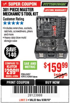 Harbor Freight Coupon 301 PIECE MASTER MECHANIC'S TOOL KIT Lot No. 69312/63464/63457/45951 Expired: 9/30/18 - $159.99
