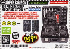 Harbor Freight Coupon 301 PIECE MASTER MECHANIC'S TOOL KIT Lot No. 69312/63464/63457/45951 Expired: 11/30/18 - $159.99