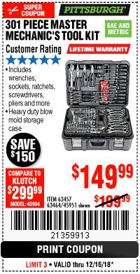 Harbor Freight Coupon 301 PIECE MASTER MECHANIC'S TOOL KIT Lot No. 69312/63464/63457/45951 Expired: 12/16/18 - $149.99