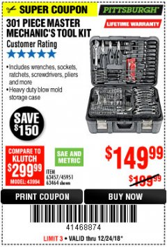 Harbor Freight Coupon 301 PIECE MASTER MECHANIC'S TOOL KIT Lot No. 69312/63464/63457/45951 Expired: 12/24/18 - $149.99
