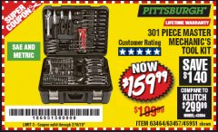 Harbor Freight Coupon 301 PIECE MASTER MECHANIC'S TOOL KIT Lot No. 69312/63464/63457/45951 Expired: 2/16/19 - $159.99