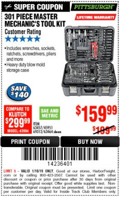 Harbor Freight ITC Coupon 301 PIECE MASTER MECHANIC'S TOOL KIT Lot No. 69312/63464/63457/45951 Expired: 1/10/19 - $159.99