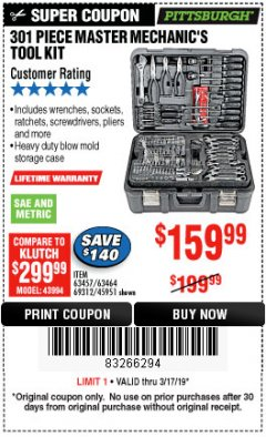 Harbor Freight Coupon 301 PIECE MASTER MECHANIC'S TOOL KIT Lot No. 69312/63464/63457/45951 Expired: 3/17/19 - $159.99