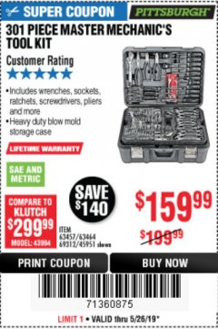 Harbor Freight Coupon 301 PIECE MASTER MECHANIC'S TOOL KIT Lot No. 69312/63464/63457/45951 Valid Thru: 5/26/19 - $159.99