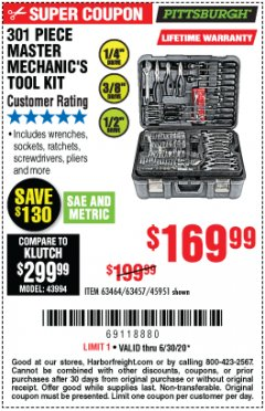 Harbor Freight Coupon 301 PIECE MASTER MECHANIC'S TOOL KIT Lot No. 63464/63457/45951 EXPIRES: 6/30/20 - $169.99