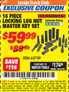 Harbor Freight ITC Coupon 16 PIECE LOCKING LUG NUT MASTER KEY SET Lot No. 63739 Expired: 3/31/19 - $59.99