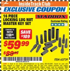 Harbor Freight ITC Coupon 16 PIECE LOCKING LUG NUT MASTER KEY SET Lot No. 63739 Dates Valid: 12/31/69 - 5/31/19 - $59.99