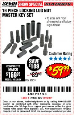 Harbor Freight Coupon 16 PIECE LOCKING LUG NUT MASTER KEY SET Lot No. 63739 Expired: 11/24/19 - $59.99