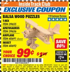 Harbor Freight ITC Coupon BALSA WOOD PUZZLE - T-REX, APATOSAURUS, AIRPLANE, INSECT Lot No. 39655/39656/40691/40692 Expired: 12/31/18 - $0.99