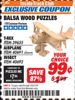 Harbor Freight ITC Coupon BALSA WOOD PUZZLE - T-REX, APATOSAURUS, AIRPLANE, INSECT Lot No. 39655/39656/40691/40692 Expired: 10/31/19 - $0.99