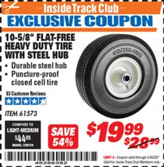 "Harbor Freight ITC Coupon 10-5/8"" FLAT-FREE HEAVY DUTY TIRE WITH STEEL HUB Lot No. 61573 Expired: 4/30/20 - $19.99"