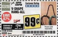 Harbor Freight Coupon V-SHAPE HANG-ALL Lot No. 68995/61430/61533 Expired: 10/17/18 - $0.99