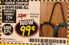 Harbor Freight Coupon V-SHAPE HANG-ALL Lot No. 68995/61430/61533 Expired: 10/31/18 - $0.99
