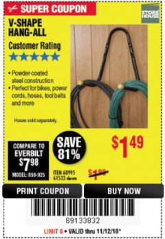 Harbor Freight Coupon V-SHAPE HANG-ALL Lot No. 68995/61430/61533 Expired: 11/18/18 - $1.49