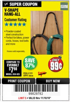 Harbor Freight Coupon V-SHAPE HANG-ALL Lot No. 68995/61430/61533 Expired: 11/18/18 - $0.99