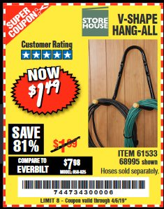 Harbor Freight Coupon V-SHAPE HANG-ALL Lot No. 68995/61430/61533 Expired: 4/5/19 - $1.49
