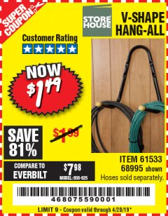 Harbor Freight Coupon V-SHAPE HANG-ALL Lot No. 68995/61430/61533 Valid Thru: 4/20/19 - $1.49