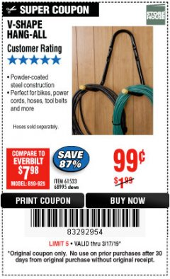 Harbor Freight Coupon V-SHAPE HANG-ALL Lot No. 68995/61430/61533 Expired: 3/17/19 - $0.99