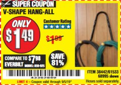 Harbor Freight Coupon V-SHAPE HANG-ALL Lot No. 38442/61430/61533/68995 Expired: 9/5/19 - $1.49