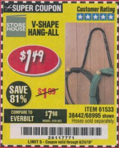 Harbor Freight Coupon V-SHAPE HANG-ALL Lot No. 38442/61430/61533/68995 Expired: 8/24/19 - $1.49