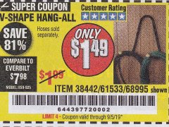 Harbor Freight Coupon V-SHAPE HANG-ALL Lot No. 38442/61430/61533/68995 Expired: 8/14/19 - $1.49
