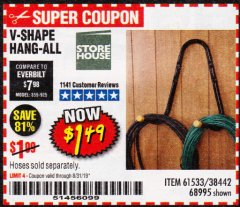 Harbor Freight Coupon V-SHAPE HANG-ALL Lot No. 38442/61430/61533/68995 Expired: 8/31/19 - $1.49