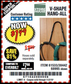 Harbor Freight Coupon V-SHAPE HANG-ALL Lot No. 38442/61430/61533/68995 Expired: 11/2/19 - $1.49