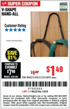 Harbor Freight Coupon V-SHAPE HANG-ALL Lot No. 38442/61430/61533/68995 Expired: 1/5/20 - $1.49