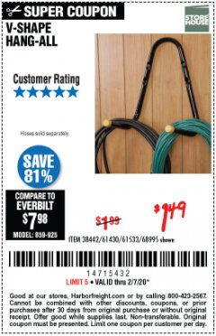 Harbor Freight Coupon V-SHAPE HANG-ALL Lot No. 38442/61430/61533/68995 Expired: 2/7/20 - $1.49