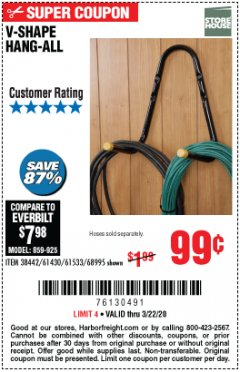 Harbor Freight Coupon V-SHAPE HANG-ALL Lot No. 38442/61430/61533/68995 Expired: 3/22/20 - $0.99