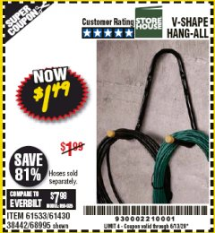 Harbor Freight Coupon V-SHAPE HANG-ALL Lot No. 38442/61430/61533/68995 Valid: 4/6/20 - 6/30/20 - $1.49