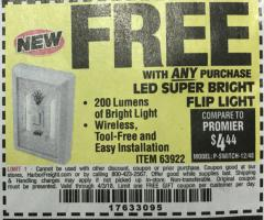 Harbor Freight FREE Coupon LED SUPER BRIGHT FLIP LIGHT Lot No. 64723/63922/64189 Expired: 4/3/18 - FWP