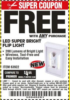 Harbor Freight FREE Coupon LED SUPER BRIGHT FLIP LIGHT Lot No. 64723/63922/64189 Expired: 4/24/18 - FWP