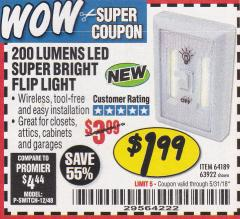 Harbor Freight Coupon LED SUPER BRIGHT FLIP LIGHT Lot No. 64723/63922/64189 Expired: 5/31/18 - $1.99