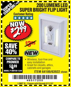 Harbor Freight Coupon LED SUPER BRIGHT FLIP LIGHT Lot No. 64723/63922/64189 Expired: 8/11/18 - $2.99