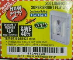 Harbor Freight Coupon LED SUPER BRIGHT FLIP LIGHT Lot No. 64723/63922/64189 Expired: 9/8/18 - $2.99