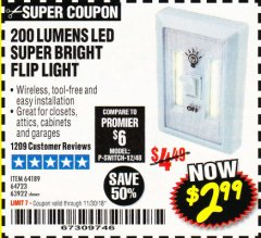 Harbor Freight Coupon LED SUPER BRIGHT FLIP LIGHT Lot No. 64723/63922/64189 Expired: 11/30/18 - $2.99