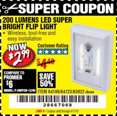 Harbor Freight Coupon LED SUPER BRIGHT FLIP LIGHT Lot No. 64723/63922/64189 Valid Thru: 4/7/19 - $2.99