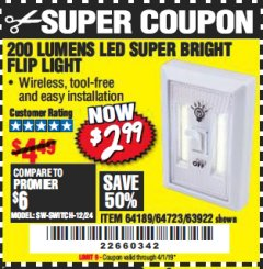 Harbor Freight Coupon LED SUPER BRIGHT FLIP LIGHT Lot No. 64723/63922/64189 Valid Thru: 4/1/19 - $2.99