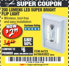 Harbor Freight Coupon LED SUPER BRIGHT FLIP LIGHT Lot No. 64723/63922/64189 Valid Thru: 5/1/19 - $2.99