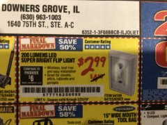 Harbor Freight Coupon LED SUPER BRIGHT FLIP LIGHT Lot No. 64723/63922/64189 Valid Thru: 3/23/19 - $2.99
