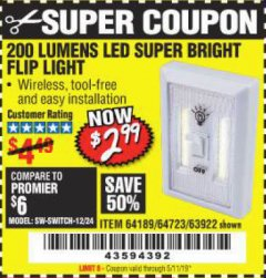 Harbor Freight Coupon LED SUPER BRIGHT FLIP LIGHT Lot No. 64723/63922/64189 Valid Thru: 5/11/19 - $2.99